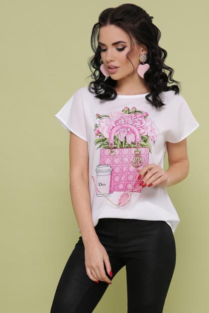 летняя блузка с принтом. Сумка Dior блуза Мира-2 б/р. Цвет: белый