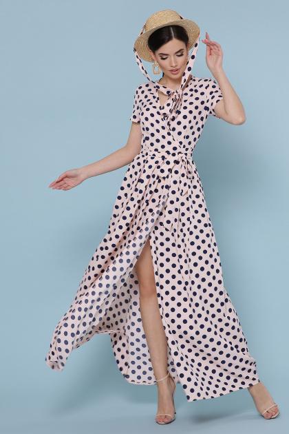 платье макси в горошек. платье Шайни к/р. Цвет: персик-синий горох