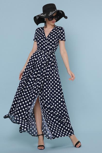 платье макси в горошек. платье Шайни к/р. Цвет: синий - белый горох