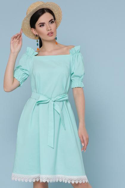 голубое платье с открытыми плечами. платье Бланка к/р. Цвет: мята