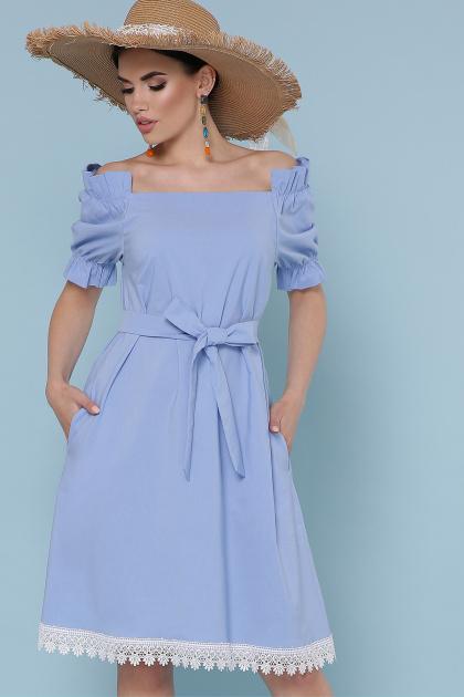 голубое платье с открытыми плечами. платье Бланка к/р. Цвет: голубой