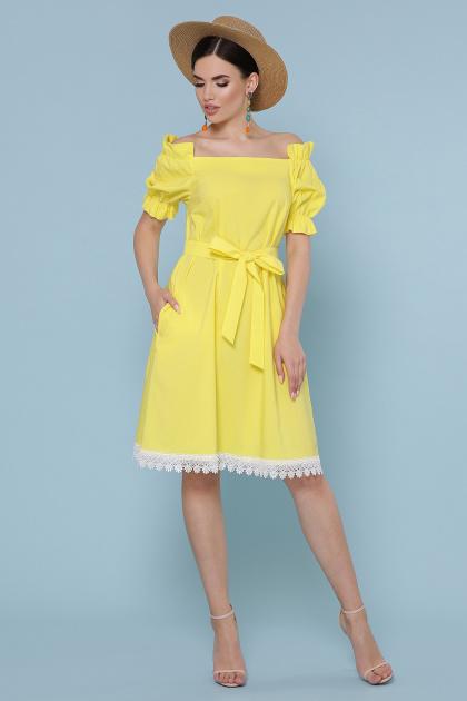 голубое платье с открытыми плечами. платье Бланка к/р. Цвет: желтый