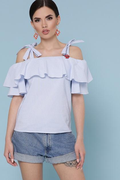 полосатая блузка с воланом на плечах. блуза Стефания к/р. Цвет: голубая м.полоска