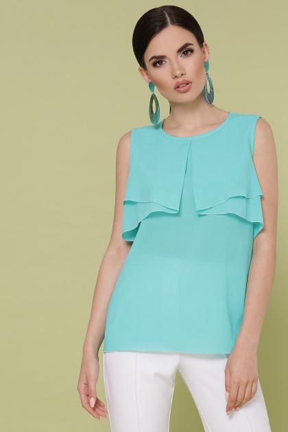 мятная блузка без рукавов. блуза Юлия к/р. Цвет: мята