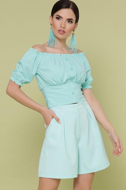 белая укороченная блузка. блуза Янина к/р. Цвет: мята