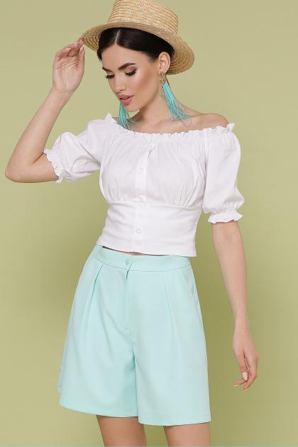 белая укороченная блузка. блуза Янина к/р. Цвет: белый