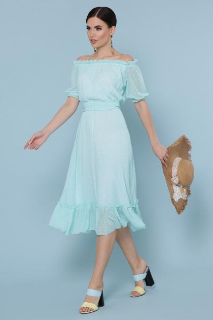 шифоновое лавандовое платье. платье Устинья  к/р. Цвет: мята