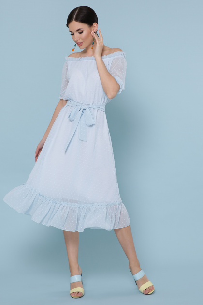 шифоновое лавандовое платье. платье Устинья  к/р. Цвет: голубой