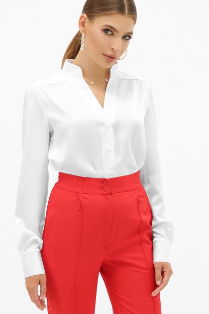 шелковая бежевая блузка. блуза Эльвира-2 д/р. Цвет: белый