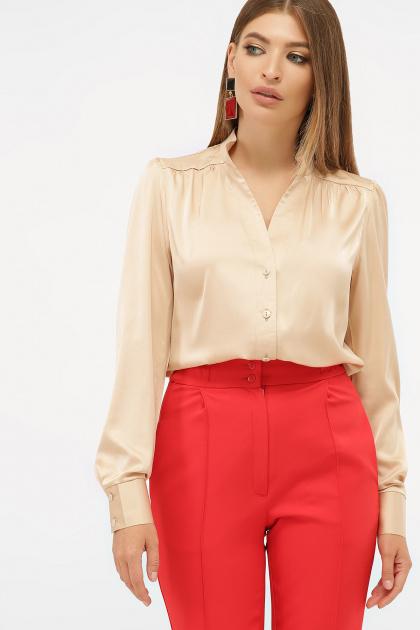 шелковая бежевая блузка. блуза Эльвира-2 д/р. Цвет: бежевый