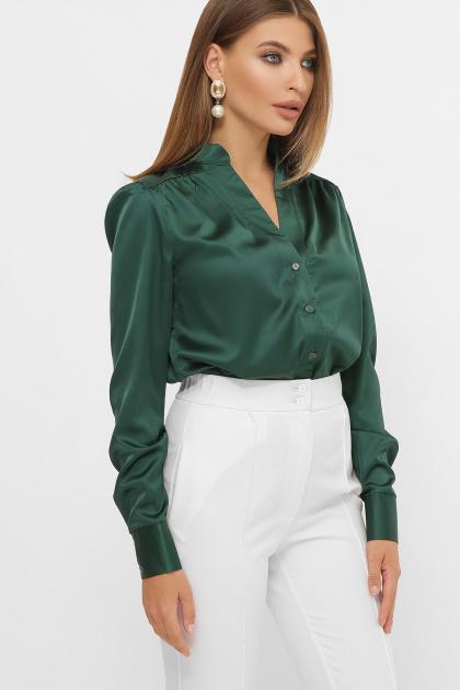 шелковая бежевая блузка. блуза Эльвира-2 д/р. Цвет: изумруд
