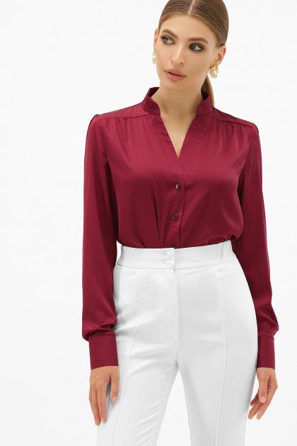 шелковая бежевая блузка. блуза Эльвира-2 д/р. Цвет: бордо