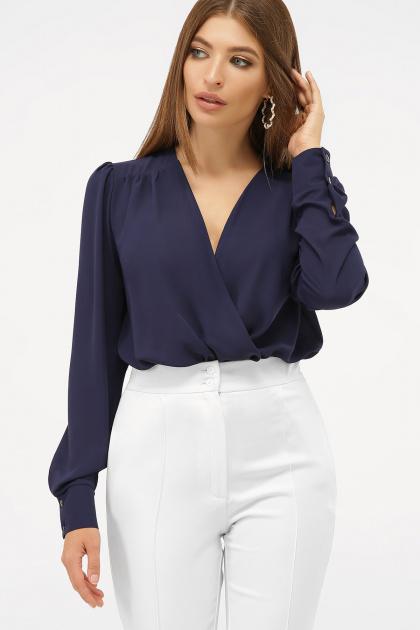 белая блузка-боди. Блуза-боди Карен д/р. Цвет: синий