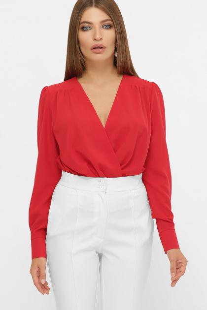 белая блузка-боди. Блуза-боди Карен д/р. Цвет: красный