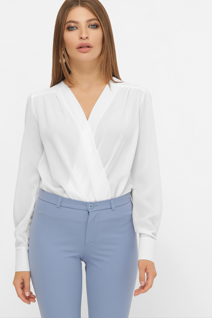 белая блузка-боди. Блуза-боди Карен д/р. Цвет: белый