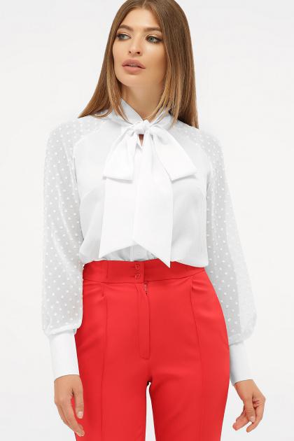 белая блузка с бантом. блуза Эллада д/р. Цвет: белый