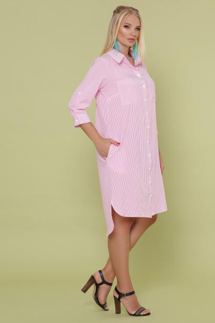 платье-рубашка больших размеров. платье Валентия-Б 3/4. Цвет: розовая м. полоска