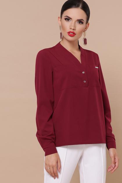 бордовая блузка с длинным рукавом. блуза Жанна д/р. Цвет: бордо