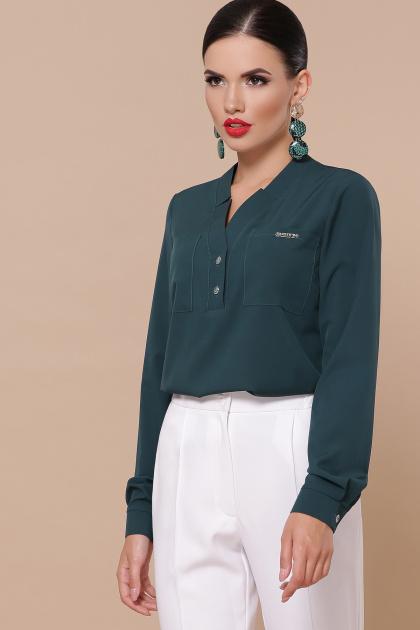 бордовая блузка с длинным рукавом. блуза Жанна д/р. Цвет: изумруд