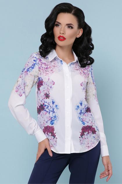 белая блузка с цветочным принтом. Гортензия блуза Зоя д/р. Цвет: белый