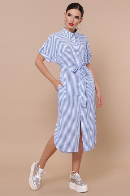 полосатое платье рубашка. платье-рубашка Дарья-2 к/р. Цвет: голубая полоска