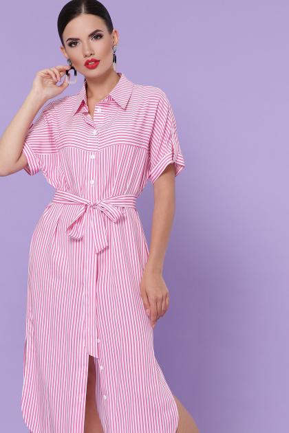 полосатое платье рубашка. платье-рубашка Дарья-2 к/р. Цвет: розовая полоска