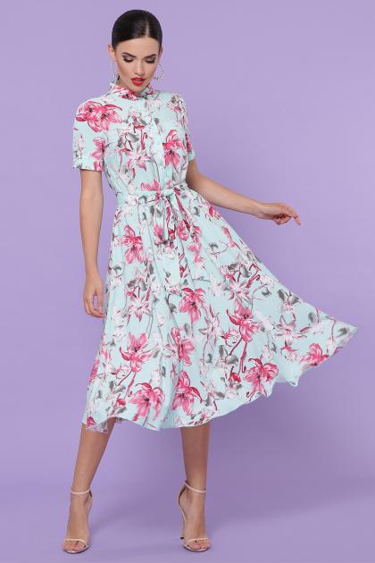 . платье Изольда к/р. Цвет: мята-крупный цветок