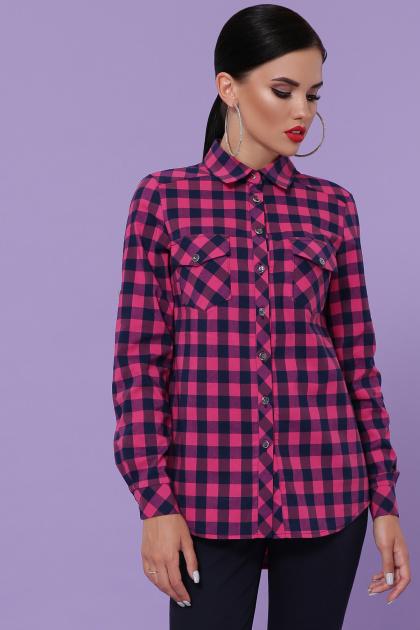 малиновая рубашка в клетку. блуза Пальмира д/р. Цвет: клетка малиновый-синий