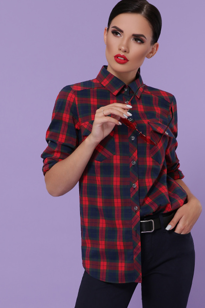 голубая рубашка в клетку. блуза Пальмира д/р. Цвет: клетка красн-зелен-синий