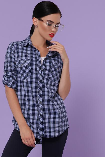 голубая рубашка в клетку. блуза Пальмира д/р. Цвет: клетка синий-голуб-красн