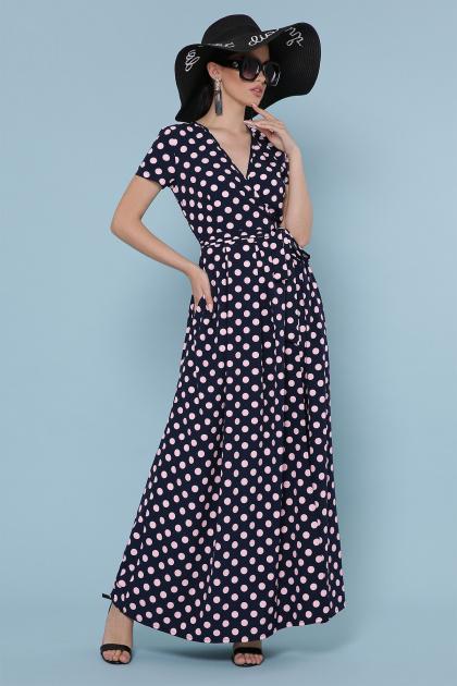 . платье Шайни к/р. Цвет: синий-персик горох
