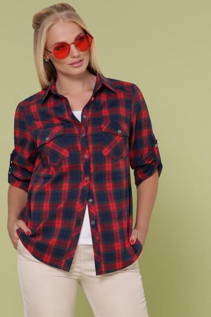 клетчатая рубашка больших размеров. блуза Пальмира-Б д/р. Цвет: клетка красн-зелен-синий