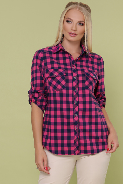 рубашка в клетку батального размера. блуза Пальмира-Б д/р. Цвет: клетка малиновый-синий