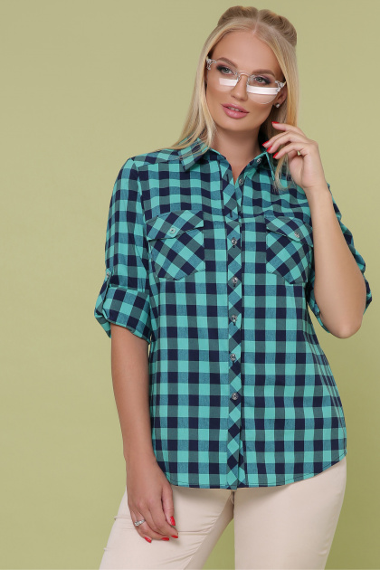 рубашка в клетку для пышных женщин. блуза Пальмира-Б д/р. Цвет: клетка мята-синий