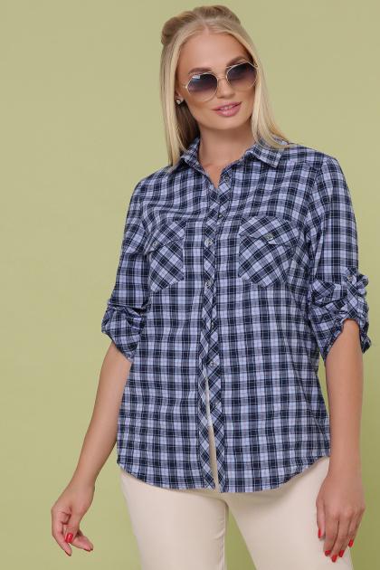 клетчатая рубашка больших размеров. блуза Пальмира-Б д/р. Цвет: клетка синий-голуб-красн