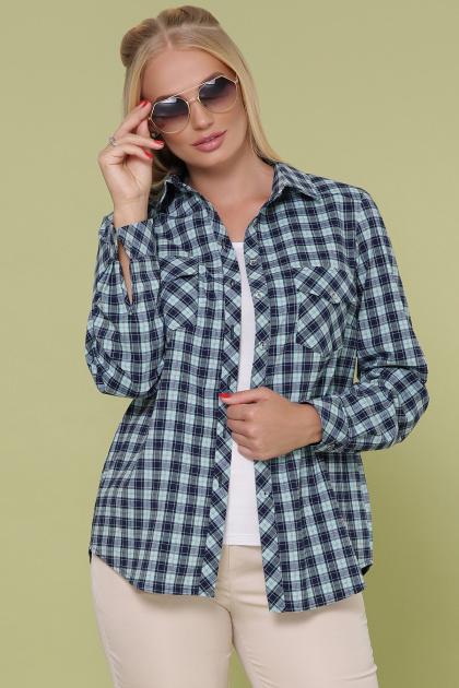 рубашка в клетку для пышных женщин. блуза Пальмира-Б д/р. Цвет: клетка синий-мята-красн