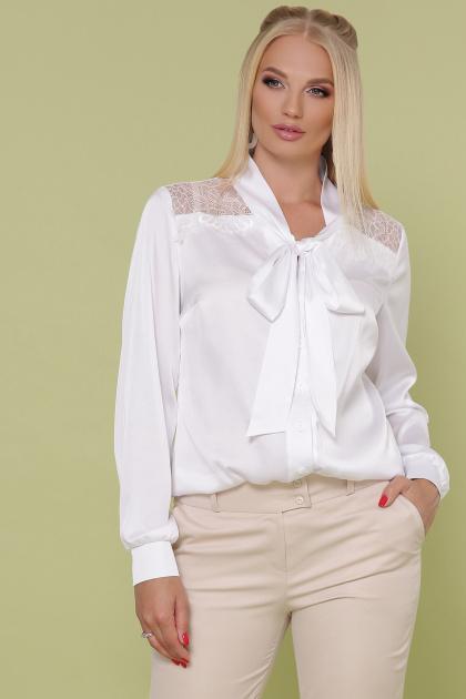 шелковая блузка больших размеров. блуза Роксана-Б д/р. Цвет: белый