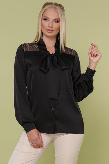 шелковая блузка больших размеров. блуза Роксана-Б д/р. Цвет: черный
