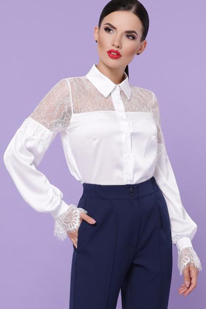 белая блузка с кружевом. блуза Фарида д/р. Цвет: белый