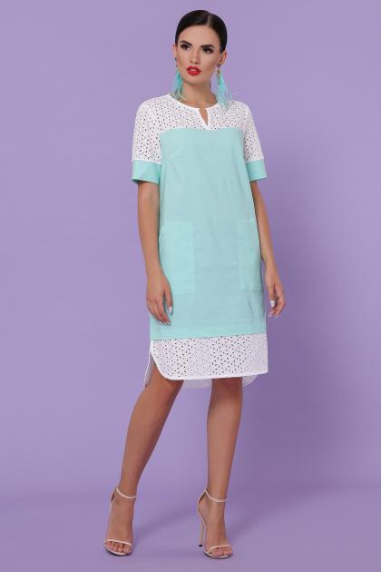 персиковое платье на лето. платье Сати-3 к/р. Цвет: мята