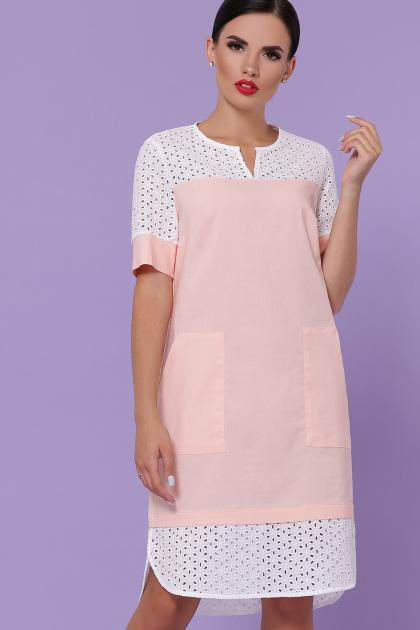 персиковое платье на лето. платье Сати-3 к/р. Цвет: персик