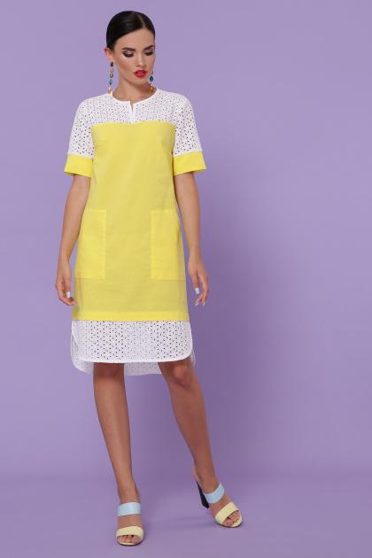 персиковое платье на лето. платье Сати-3 к/р. Цвет: желтый