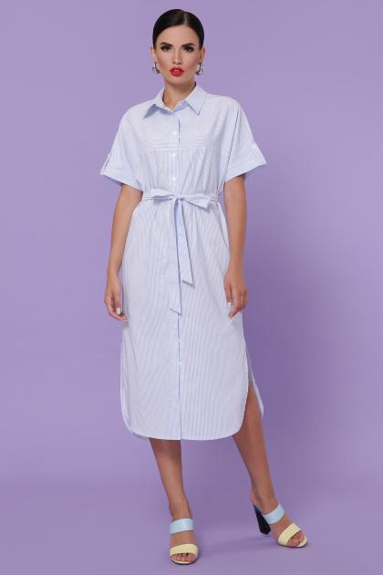 полосатое платье на пуговицах. платье-рубашка Дарья-3 к/р. Цвет: голубая м.полоска