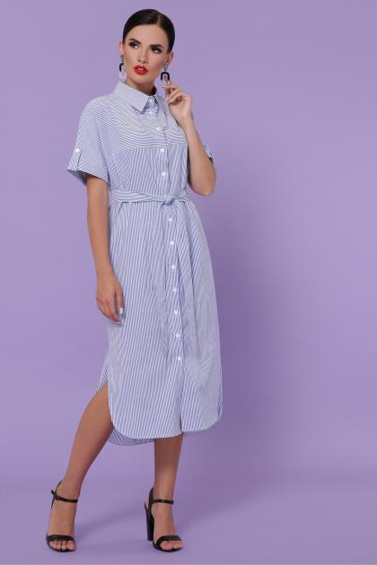 летнее платье-рубашка. платье-рубашка Дарья-3 к/р. Цвет: синяя м. полоска