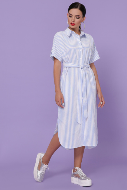 летнее платье-рубашка. платье-рубашка Дарья-3 к/р. Цвет: голубая полоска