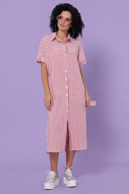 полосатое платье на пуговицах. платье-рубашка Дарья-3 к/р. Цвет: коралл полоска