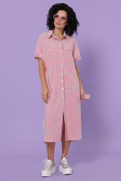 летнее платье-рубашка. платье-рубашка Дарья-3 к/р. Цвет: коралл полоска