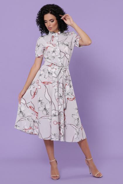 . платье Изольда к/р. Цвет: серый-цветы,цепи