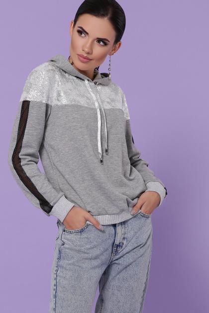 женская кофта с капюшоном. кофта Банни д/р. Цвет: серый-серебро