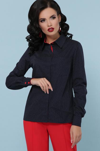 синяя офисная рубашка. блуза Вендис д/р. Цвет: синий-бел.м.горох-красн